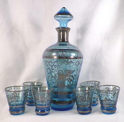 Antique Decanter 6 Shots Leaning Tower Pisa Baptistry Silver Overlay Blue Glass