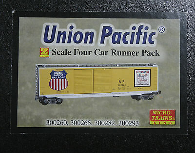 Z Scale Micro-Trains UNION PACIFIC boxcar 4-pack 99400080 --  NEW IN BOX