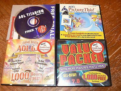 Lot of 4 Vintage AOL America Online Discs 5.0 6.0 7.0 & Picture This! PC CD-ROMs
