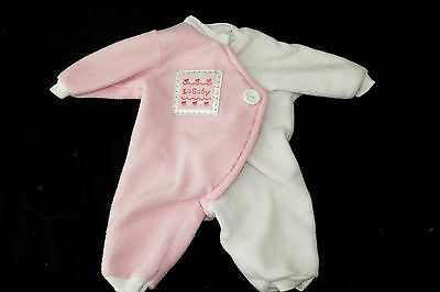 Pink & White Fleece La Baby Berenguer Boutique Outfit Romper Baby Doll Clothes