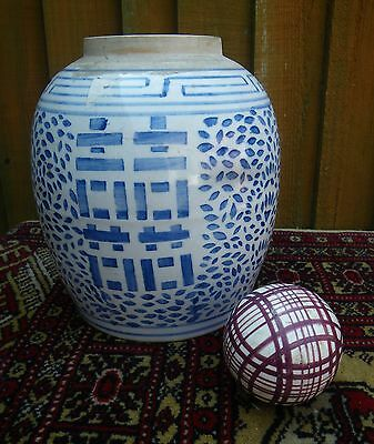 Antique/old Large Hand Painted Chinese Blue & White Temple Jar~Ginger Jar