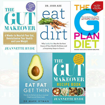 Eat Fat Get Thin 5 Books Collection Set Gut Makeover,Eat Dirt, G Plan Diet New