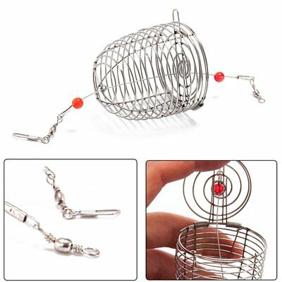 3Size Stainless Steel Wire Fishing Bait Lure Trap Cage Basket Fish Accessories T