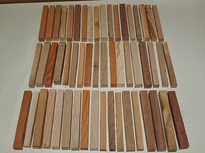 50+ Pieces Seasoned Pen Or Lace Bobbin Blanks, Mixed Woods   Woodturning
