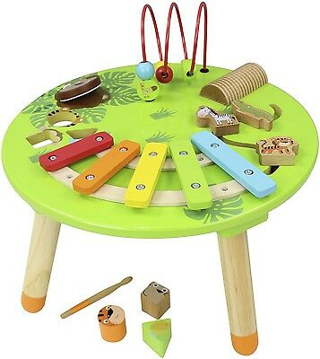 Carousel Wooden Musical Activity Table with Xylophone and Woodblock - Green A