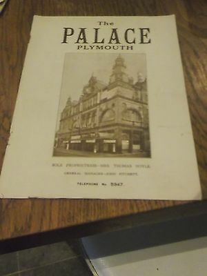 1938 Palace Theatre Plymouth Programme - Includes Screen Star Harry Welchman