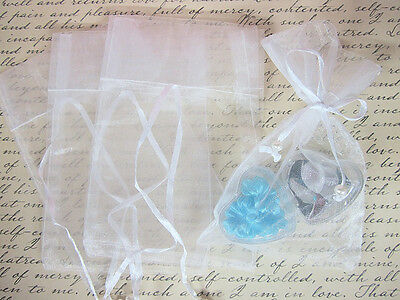 "100 Pearl Bead Organza Gift Bags 4""x6"" Wedding Favors Pouch/Party PO-2 White"