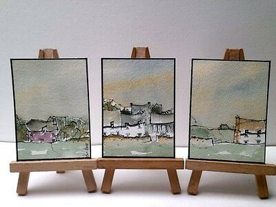 3 Original Watercolour Painting ACEOs  - The Sky For A Storm