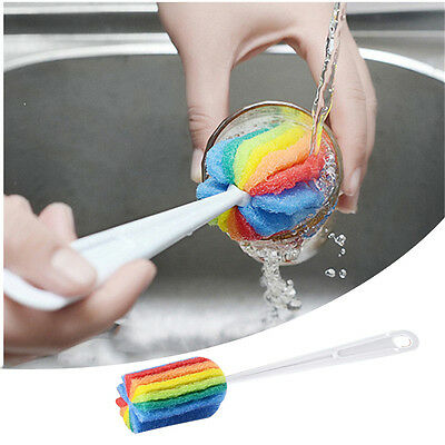 Colorful Sponge Cup Brush Long handle Bottle Brush Kitchen Cleaning Tools
