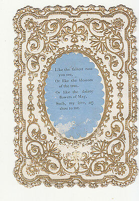 Like the Fairest Rose You see Verse Gold Embossed Victorian Card c 1880s