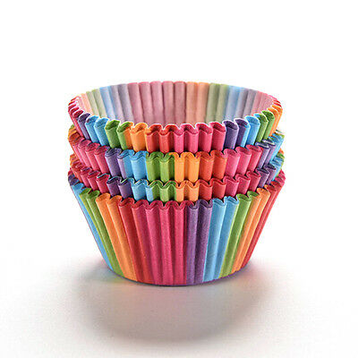 100pcs Pleated Cupcake Cases Muffin Cases Rainbow Baking Cups UK