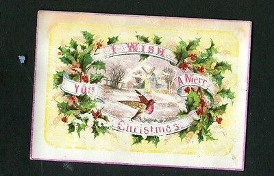 Victorian Christmas Card ,small ,early ,Robin ,Windmill in Snow ,Holly ,Greeting
