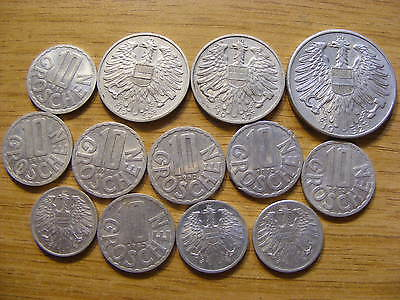 A Collection of 13 Austria Coins - Dates 1947 - 1959