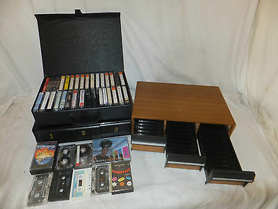 Job lot 40 CASSETTE Tapes Re RECORDABLE + 3 Cassette TIDY Tray CARRY CASE Retro
