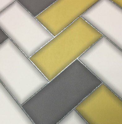 3D Chevron Tile Wallpaper Geometric Glitter Sparkle Yellow Grey Holden Decor