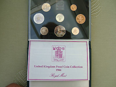 1984 British  'proof' Eight Coin Year Set. Elizabeth Ii.. Cased With Coa...