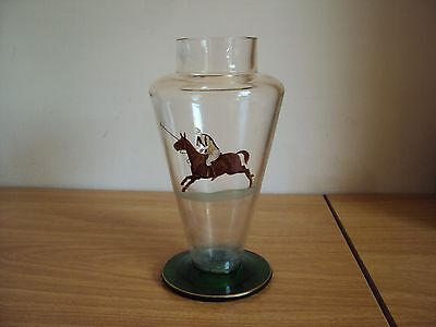 Antique Hand Painted Glass Horse Polo Player Vase with Green Base