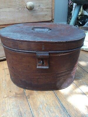 Victorian Tin Hat Box Japanned Tinwork Hat Box Lovely Condition C1890