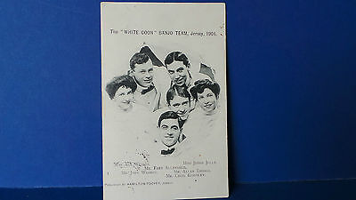 Jersey Channel Islands Postcard The White Coon Banjo Team Jersey 1904 Used