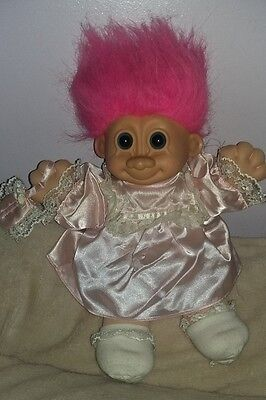 Vintage Russ Soft Bodied Troll With Pretty Pink Dress & Bag Vgc