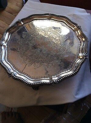 Antique Vtg Silverplate Footed Fancy Vanity Serving Bar Tray Ornate