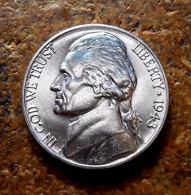 1943-P Jefferson Nickel Nice Bright Uncirculated Coin With Full Mint Lustre