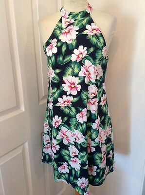 stunning ladies missguided tropical print summer swing dress size 10