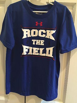 "EUC Boy's Under Armour Royal Blue ""Rock the Field"" T-Shirt (Size 7)"