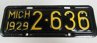 Rare 1929 Michigan Motorcycle License Plate Tag Restored D550