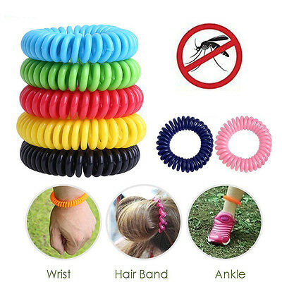 10PCS Anti Mosquito Insect Repellent Wrist Hair Band Bracelet Camping Outdoor SN
