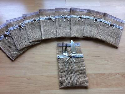 Cutlery Bags, Hessian Burlap, ribbon, bow for wedding party, dinner, hand made