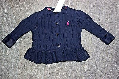 Ralph Lauren Baby Girls Navy Cotton Sweater - Size 24 Months - NWT