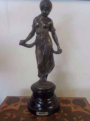 Antique French Cast Metal Female Figure Modestie Gilt Bronze Style