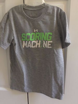 "EUC Boy's Under Armour Royal Gray ""Scoring Machine"" T-Shirt (Size 7)"