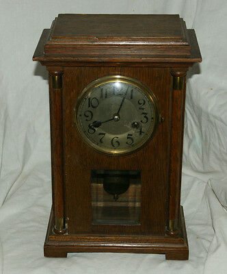 Antique BADISCHE UHRENFABRIK Oak Cased Striking Mantel Clock