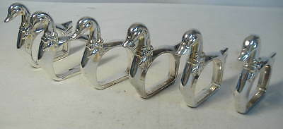 Set Of 6 Silver Plated ``duck`` Napkin/serviette Rings.