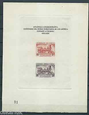 CHILE 1954 First Train of South America block n°2 railway locomotive 181x232 mm