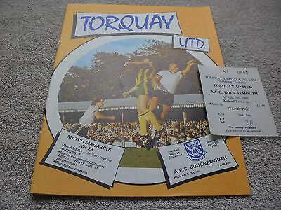 Torquay United v AFC Bournemouth  7/4/80.  With Ticket.