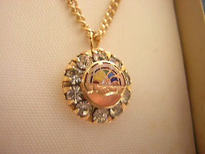 ORDER OF RAINBOW GIRLS, Masonic Youth Gold Pendant vintage B-F-C-L 10 Rhinestone