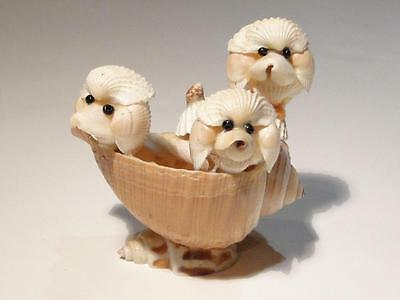 Trio of Shell Dogs in Shell Boat Adorable All Made of Shells