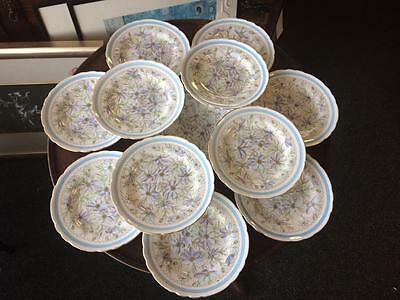 Vintage Tuscan China 12 Plates 1 Cake Plate Seving Set Dainty Flowers Gilt Edge