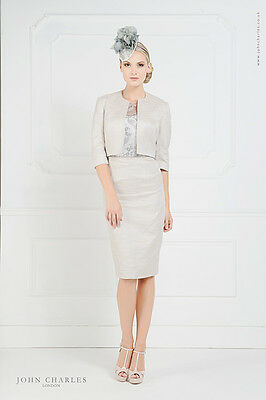 RRP £747 BNWT John Charles Mother of Bride Groom Lace Trim Dress & Jacket Sz 16