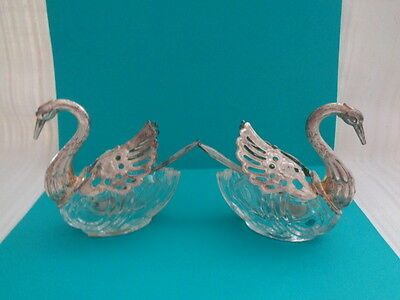 Vintage  Swan Open Salt Cellar w/ Spoon - METAL WINGS / SPOON