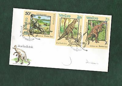 Laos 1988 Dinosaurs stamps on illustrated unaddressed FDC