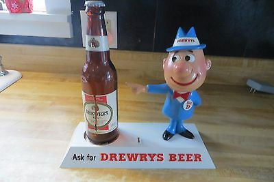 old Big D Drewry's Beer display back bar animated guy rare advertising sign