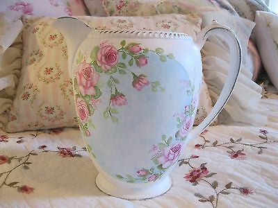 Shabby Chic Hand Painted Roses - Vintage Metal Pitcher