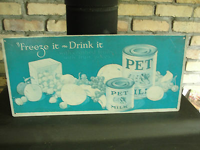 PET brand milk advertising sign, tin, old, 1927, Freez it, Drink it, fruits