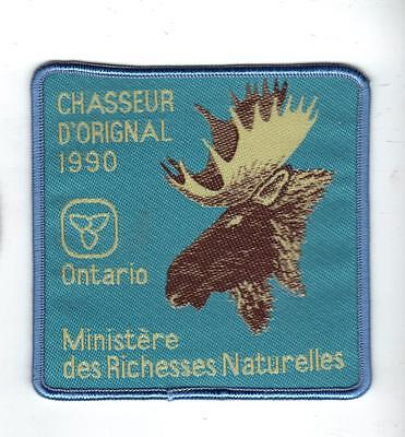1990 Ontario (French Only) Mnr Moose Hunter Patch-Michigan Dnr Deer-Crest-Badge