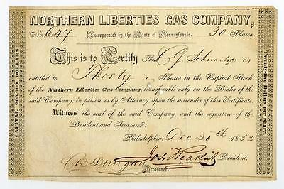 Northern Liberties Gas Co., 1852 Issued Stock Certificate