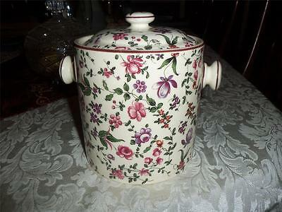 Erphila Art Pottery Czech Biscuit Barrel Airbrushed Hand Painted Deco